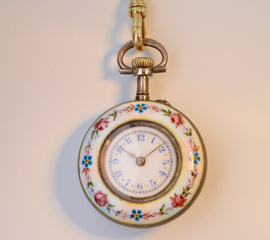 Antique Victorian pendant watch with enamel painting on  one side