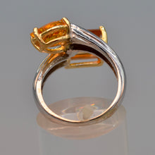 14K white gold ring with two Citrines