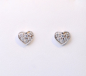 14K white gold heart-shaped post earrings with pave diamonds