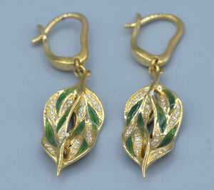 14K yellow gold/green enamel art nouveau styled earrings with diamonds