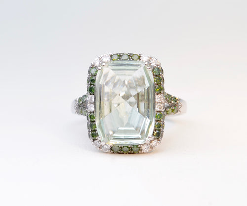 Tsavorite Ring with Diamond and Tsavorite Frame