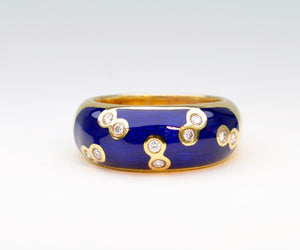 Blue Enamel and Diamond Constellation Ring