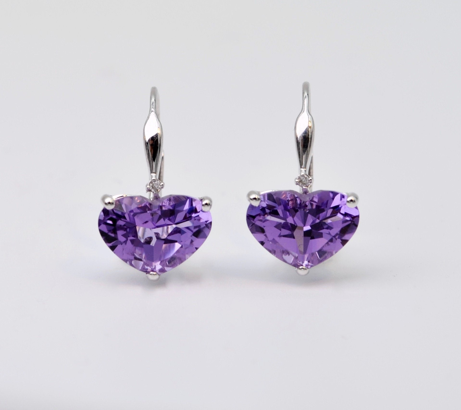 heart shaped earrings sterling silver p shane co m amethyst in