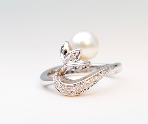 Pearl and Diamond Swan Ring