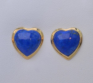 Lapis Lazuli Heart-Shaped Earrings in 14K Yellow Gold