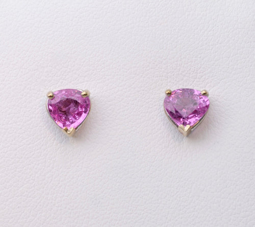 Pink Sapphire Post Earrings in 14K White Gold
