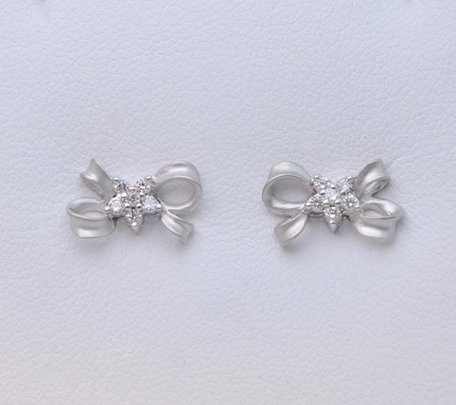 Bow-shaped Post Earrings with Diamond Accents in 14K White Gold