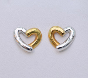 18K White/Yellow Gold Two-Tone Heart Earrings
