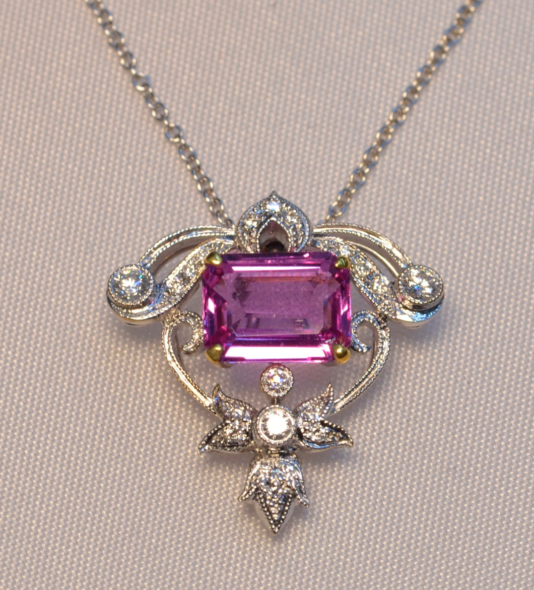 18K white gold pendant with center emerald-cut pink Sapphire and 20 side diamonds
