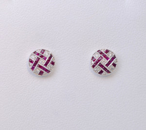 Ruby and Diamond Lattice Post Earrings in 18K White Gold