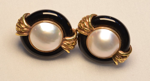 14K  Moby Pearl and Onyx Earrings