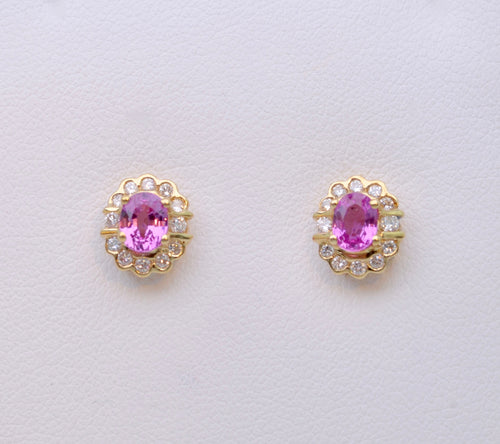Diamond and Pink Sapphire Post Earrings in 14K Yellow Gold