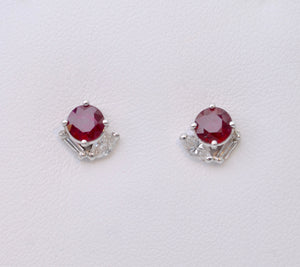 Ruby and Diamond Stud Earrings in 14K White Gold