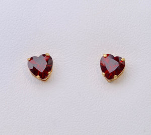 Heart-Shaped Garnet Earrings in 14K Yellow Gold