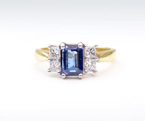Sapphire and Diamond Ring in Platinum/18K Yellow Gold
