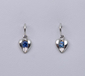14K White Gold Heart Earrings with Sapphire Sparkle