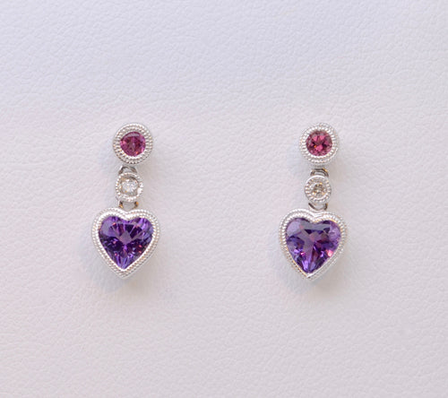 Pink Tourmaline/Amethyst Heart-Shaped Dangle Earrings in 14K White Gold