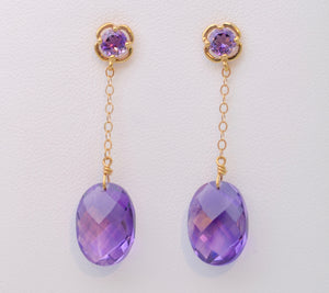 Amethyst Dangle Earrings in 14K Yellow Gold