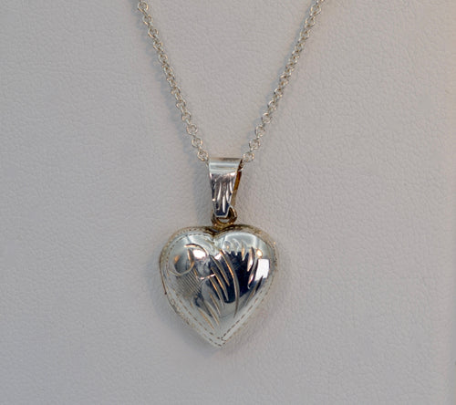 Sterling Silver Small Engraved Decoration Heart Locket