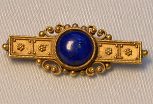 18K yellow gold Etruscan Revival pin with Lapis Lazuli