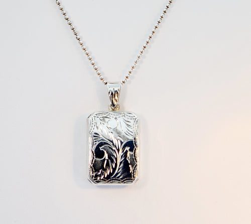 Sterling Silver Engraved Decoration Rectangular Locket