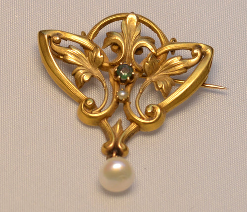 14K yellow gold Art Nouveau Brooch with one center Emerald and one pearl drop