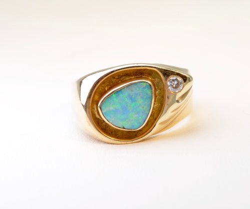 Black Opal Ring with Diamond Accent