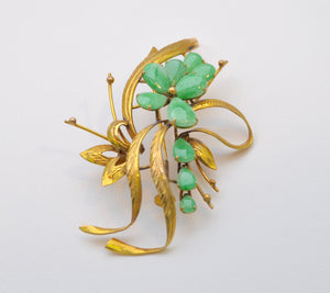 14K Yellow Gold Jade Brooch
