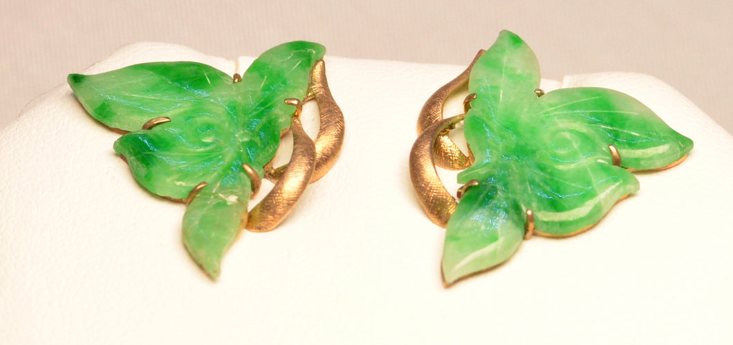 SOLD Butterfly-shaped Jadeite Earrings