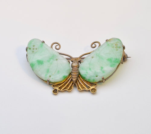 Jadeite Butterfly brooch with Natural Jadeite wings, all natural A Jade , ca. 1950