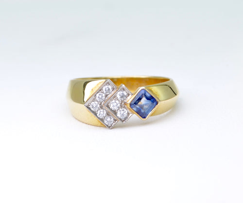 Italian-design Sapphire and Diamond Ring