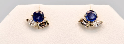 14K white gold Sapphire stud earrings with Diamonds
