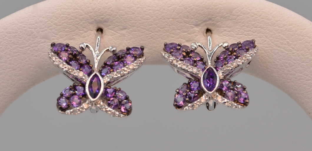 14K white gold Amethyst/Diamond butterfly earrings