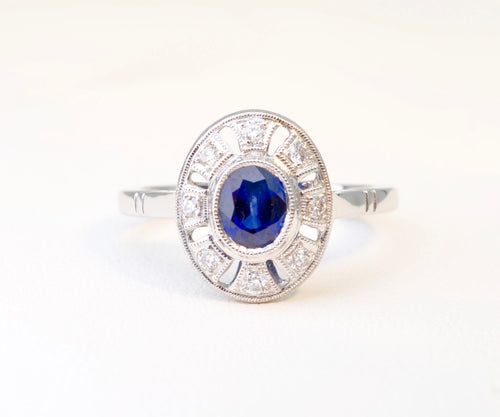 Sapphire Ring in 18K White Gold