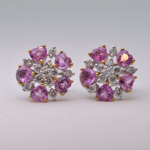 18K white gold earrings with five heart-shaped Pink Sapphires