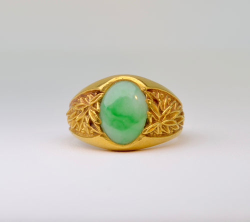22K Gold Natural Jadeite ring