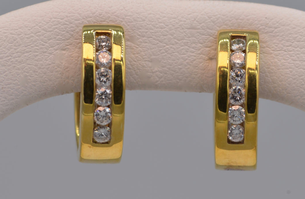14K yellow gold hoop earrings with diamonds