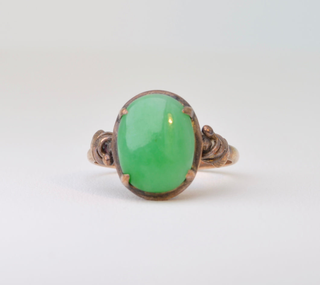 Jadeite ring set in 14K yellow gold