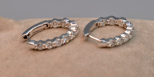 14K white gold Diamond Hoop earrings - In/out diamonds visible