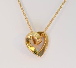 14K Yellow Gold Heart-Shaped Pendant with Peridot Accent