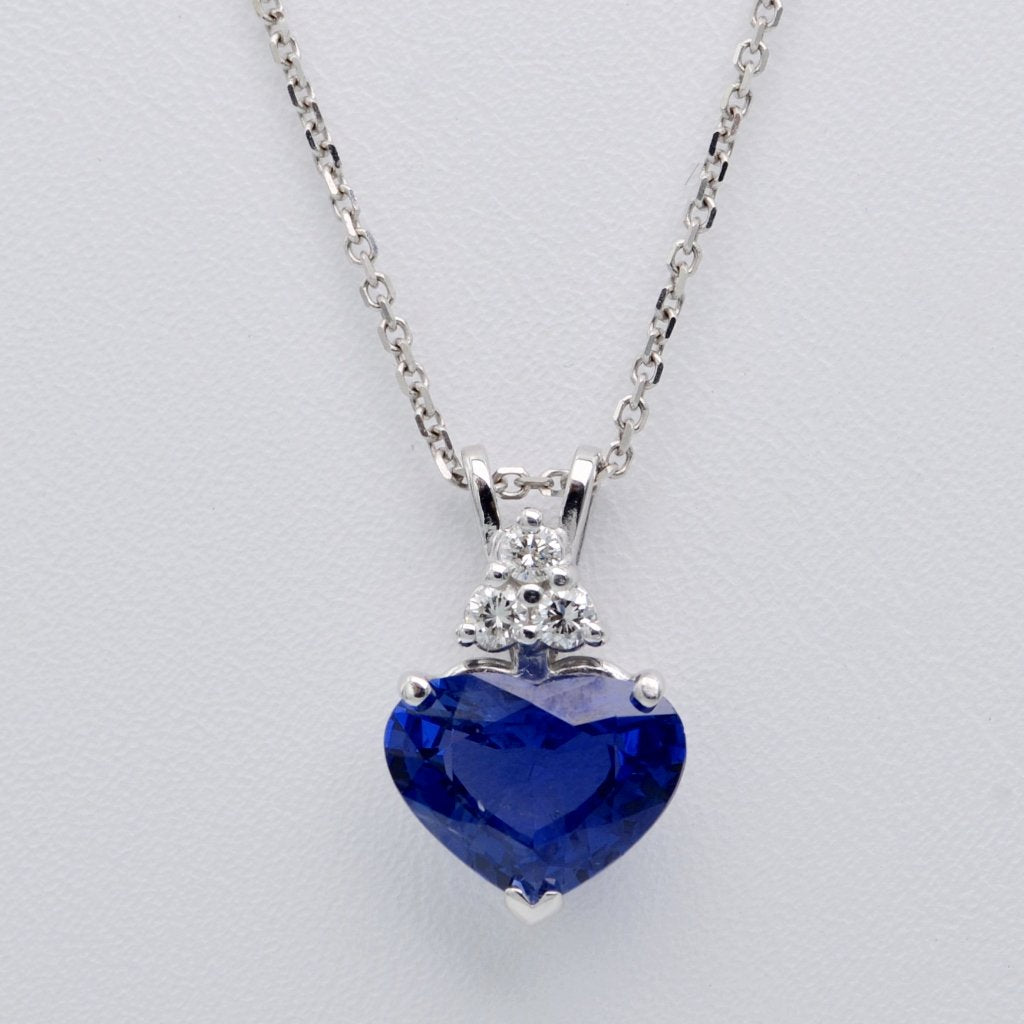 Heart-shaped Blue Sapphire and Diamond pendant