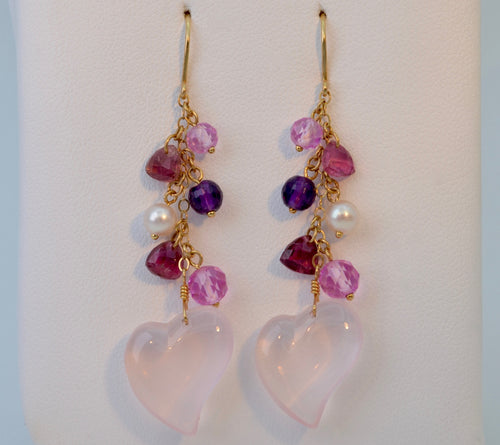 Rose-Quartz/Pearl Heart Dangle Earrings