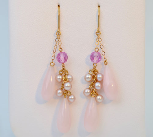 14K Pearl Pink Dangle Earrings