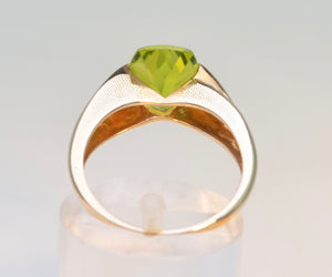 Faceted Peridot and Diamond Ring