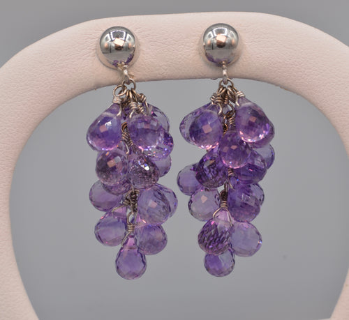 18K white gold grape cluster earrings