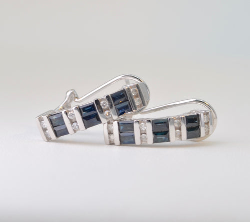 Sapphire and Diamond Hoop Earrings in 10K White Gold