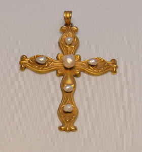 14K Art Nouveau Yellow Gold and Pearl Cross