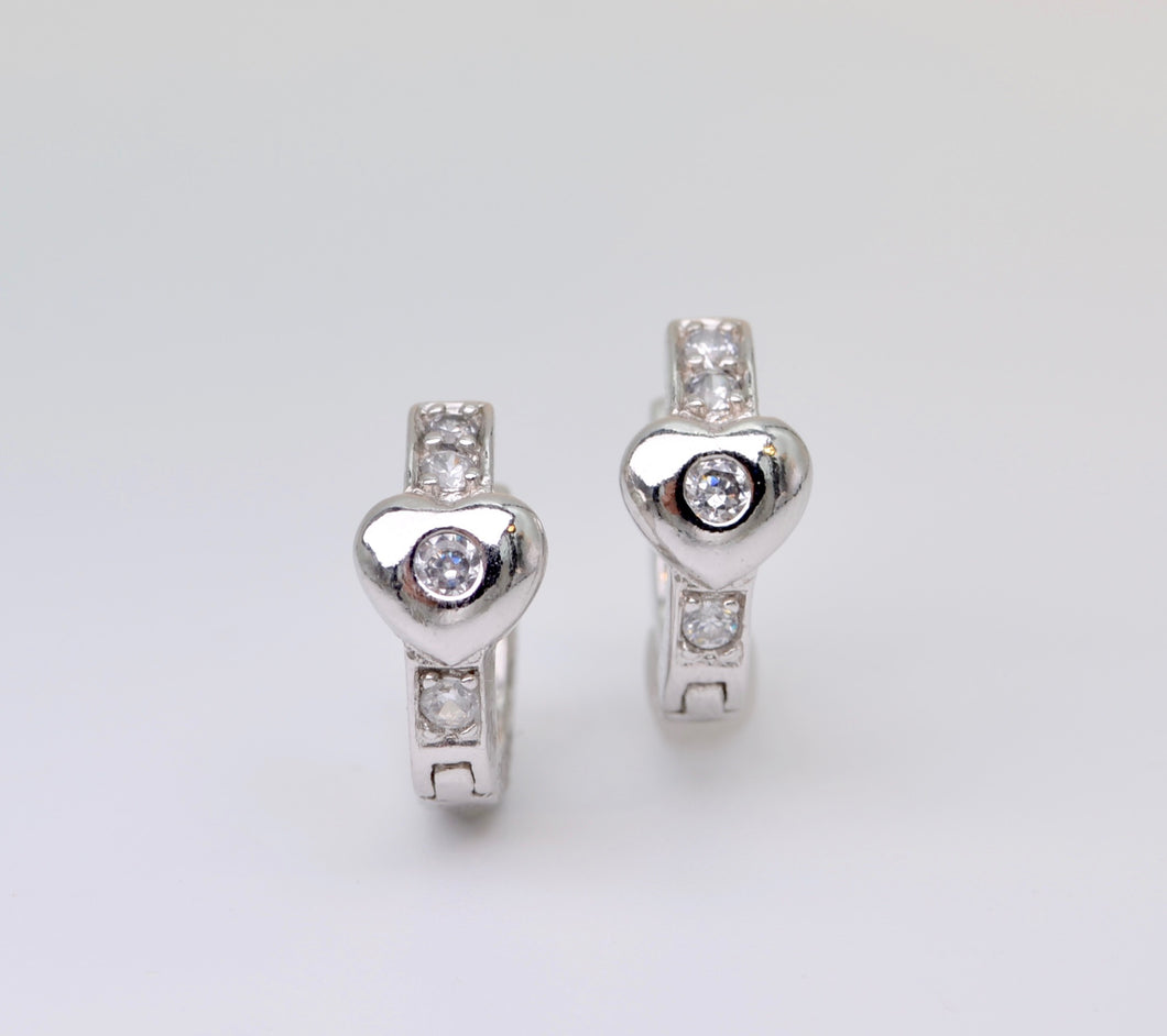 Sterling Silver and Cubic Zirconia Heart Huggies Earrings