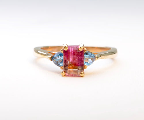 Tourmaline and Blue Topaz Ring