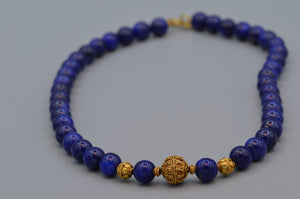 "16"" Lapis Lazuli bead necklace with 18K handmade gold beads"